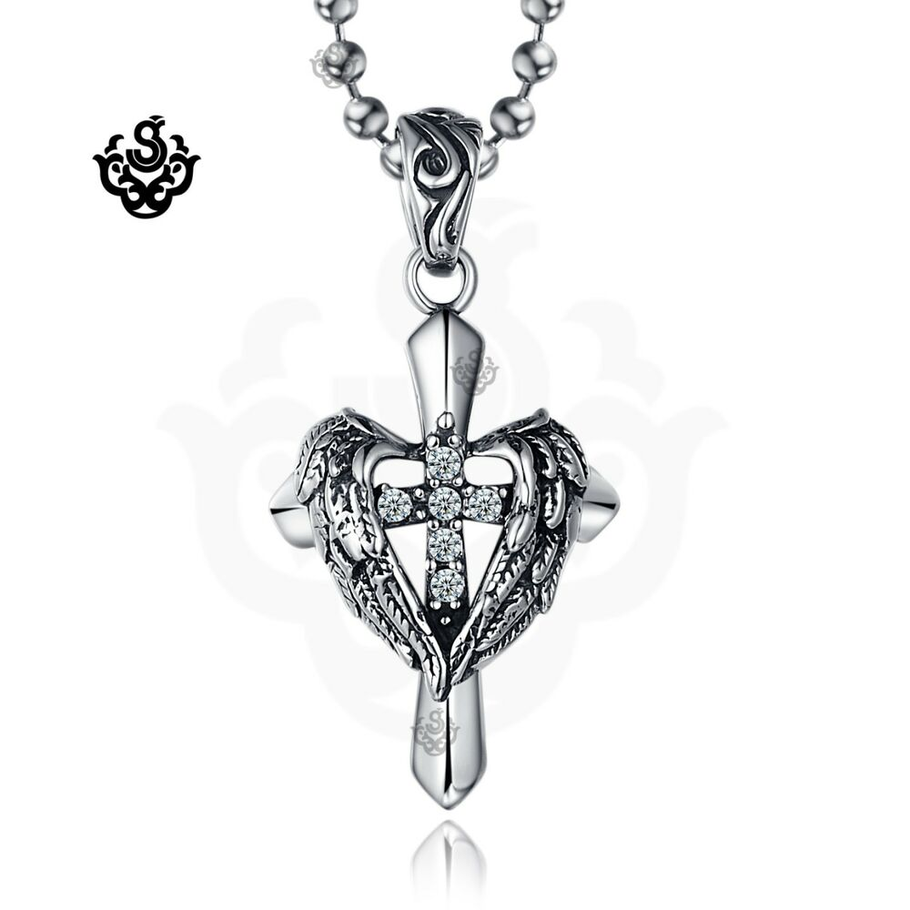 Silver cross wings clear simulated diamond gothic pendant