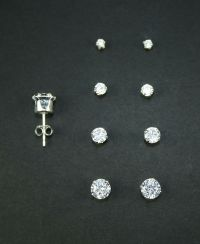 925 Sterling Silver Round Stud Set of 4 Earrings (2mm, 3mm ...