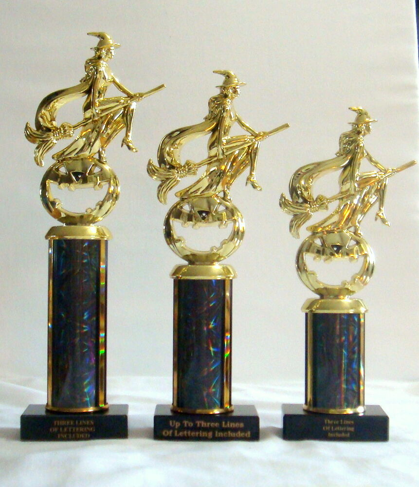 Set Of Three Halloween Trophies Witch Broom Trophy