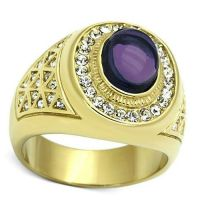 Purple Dome Stone 18kt Gold Plated Mens Ring | eBay