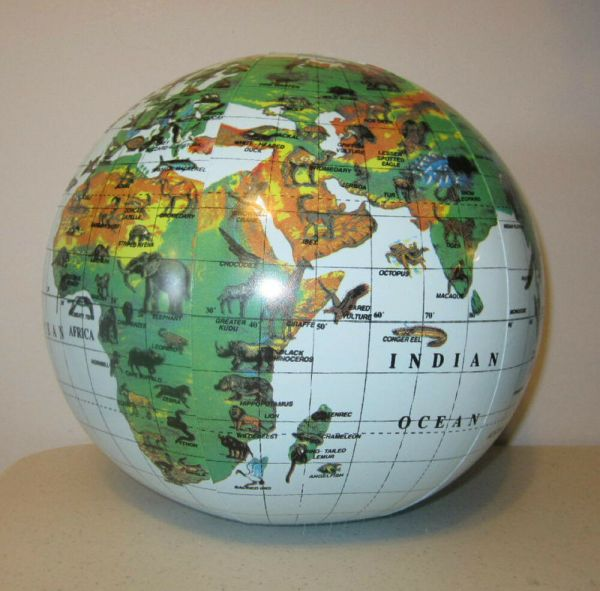 4 Inflatable Animal Print World Globes Beach Ball