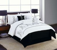 7pc Full Queen King Bedding Comforter Set Black White ...