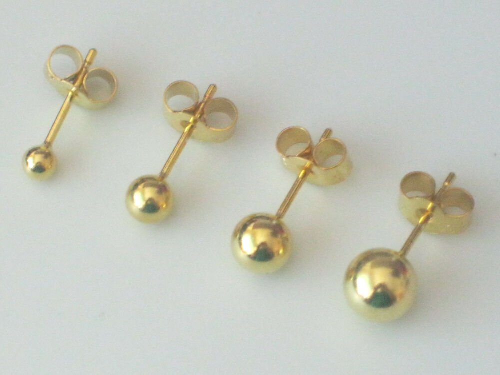 Pair of 9ct Gold Plated 925 Sterling Silver Ball Stud