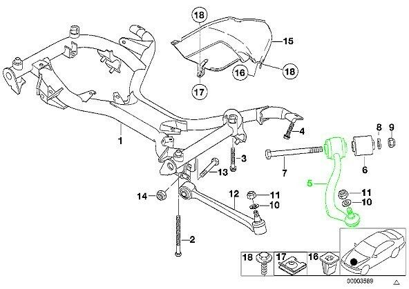 BMW e39 (97-03) 540i KARLYN Traction Strut Support Arm