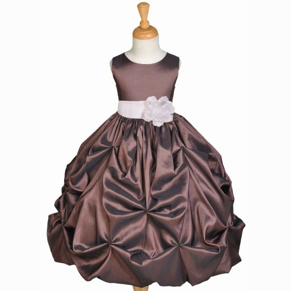 Brown Taffeta Wedding Pageant Party Flower Girl Dress 6m