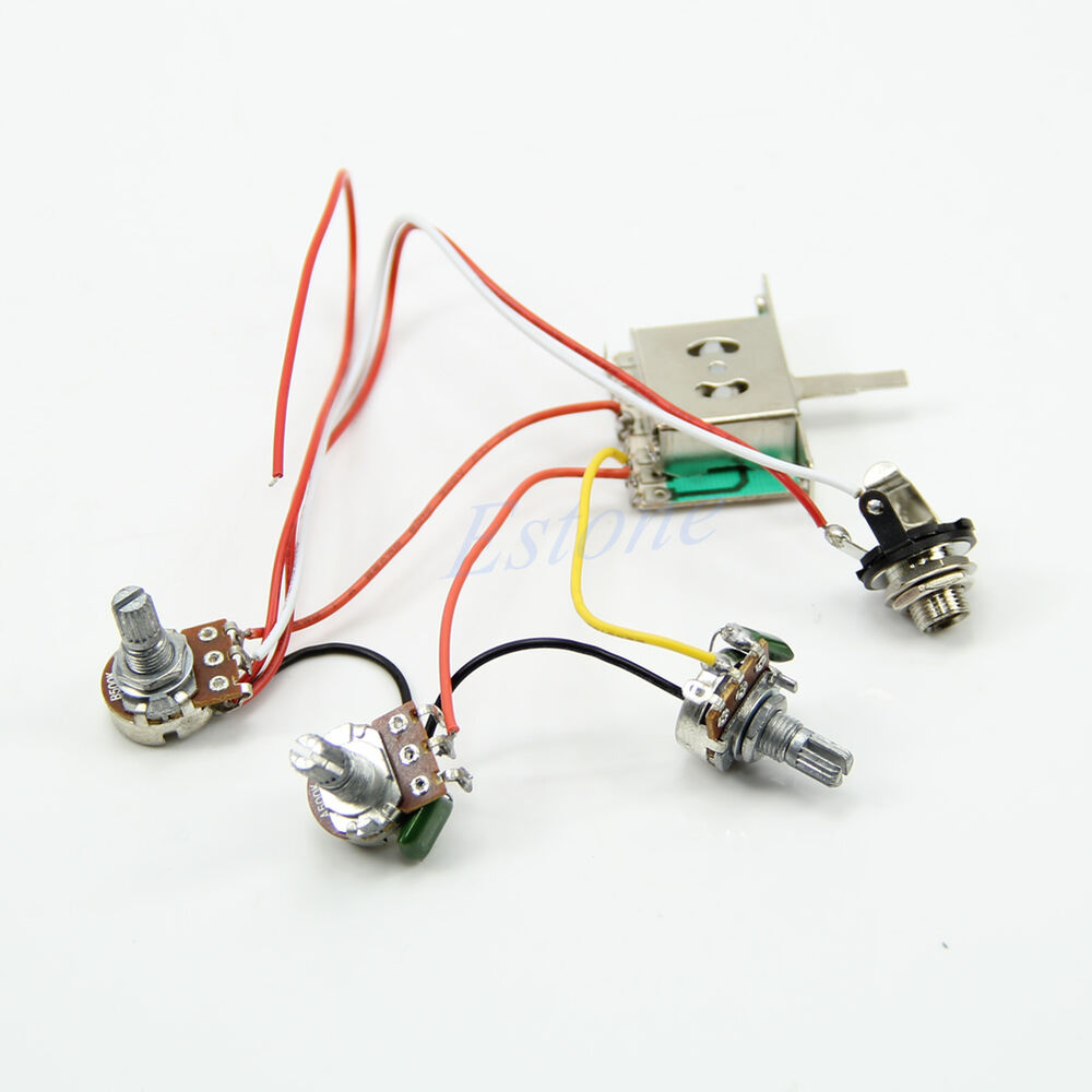 1set Guitar Wiring Harness 1v2t 1 Jack 3 Auto Electrical Way Switch Together With Set Pickup 5 500k Pots