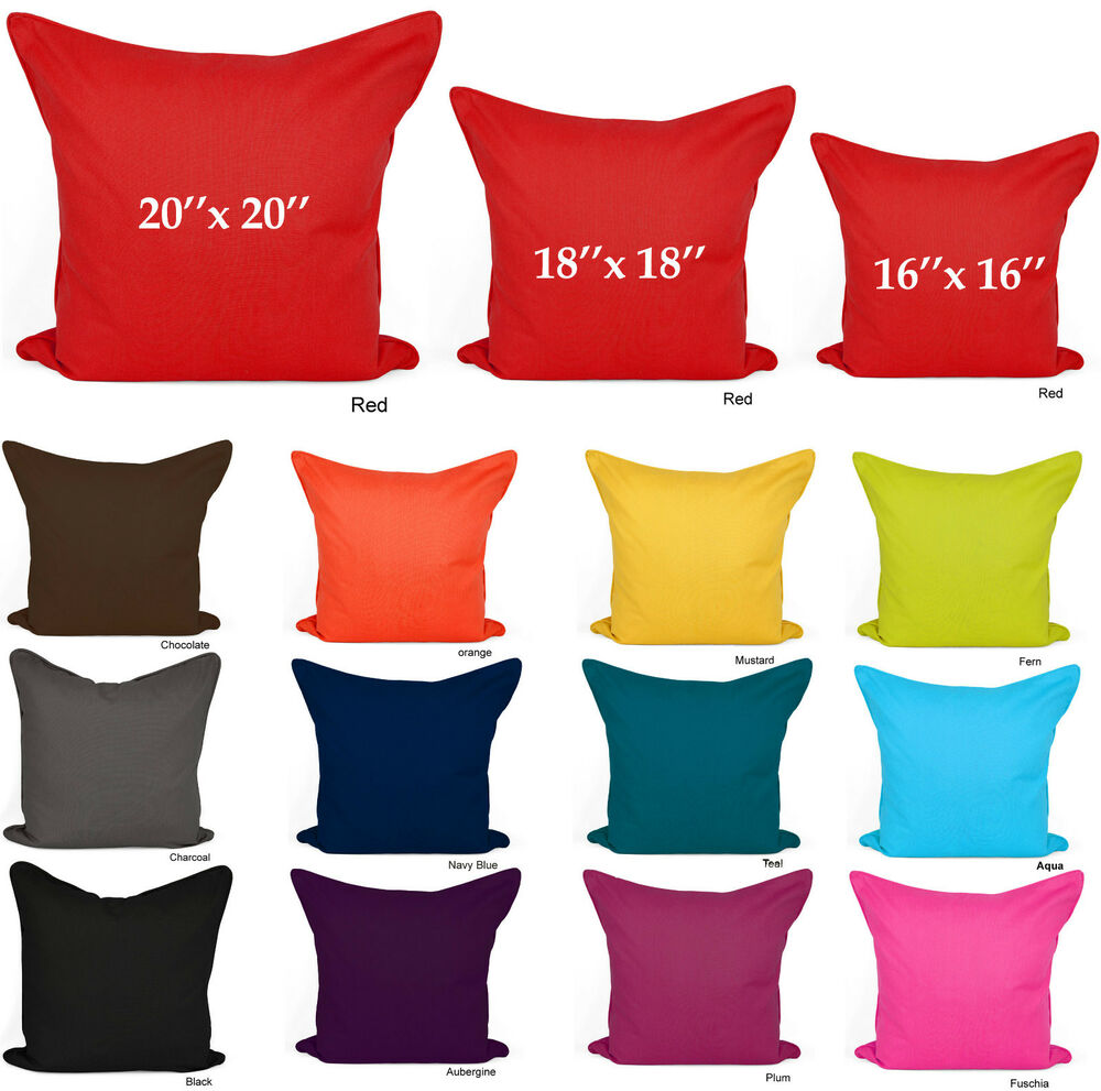 Plain Cushion Covers 100 Cotton Decorative Pillow Cases 16x16 18x18 20x20 Size  eBay