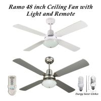 Fias Ramo 48 Inch Ceiling Fan with Light & Remote Control ...