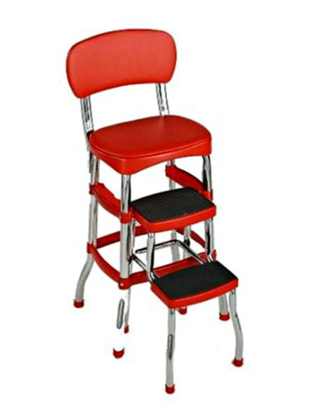 red kitchen stools Retro Chair Counter Step Bar Stool Chrome - Red | eBay