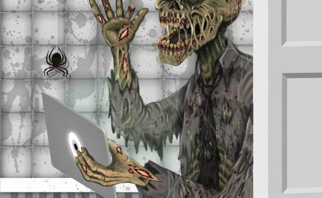 Funny Zombie Toilet Bathroom Door Cover Wall Poster