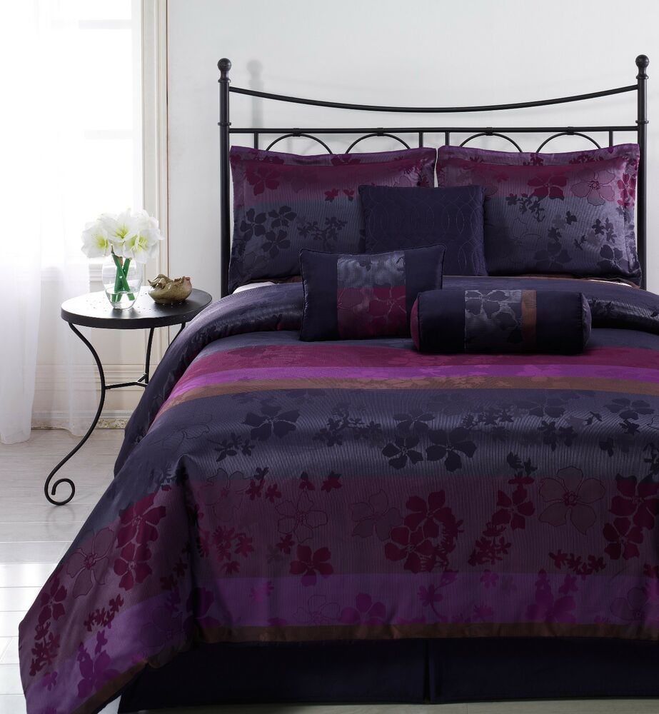 LIZ 7pc Jacquard Multi Purple Color Comforter Set Full
