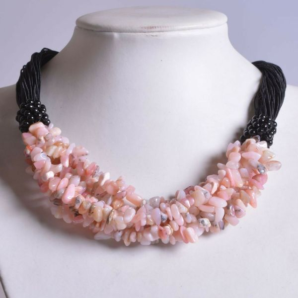 """G1128 Pink Opal Chips Gemstone Beaded Necklace 19"""""""