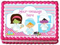 SPA PARTY Birthday Cake Edible image cake topper ...