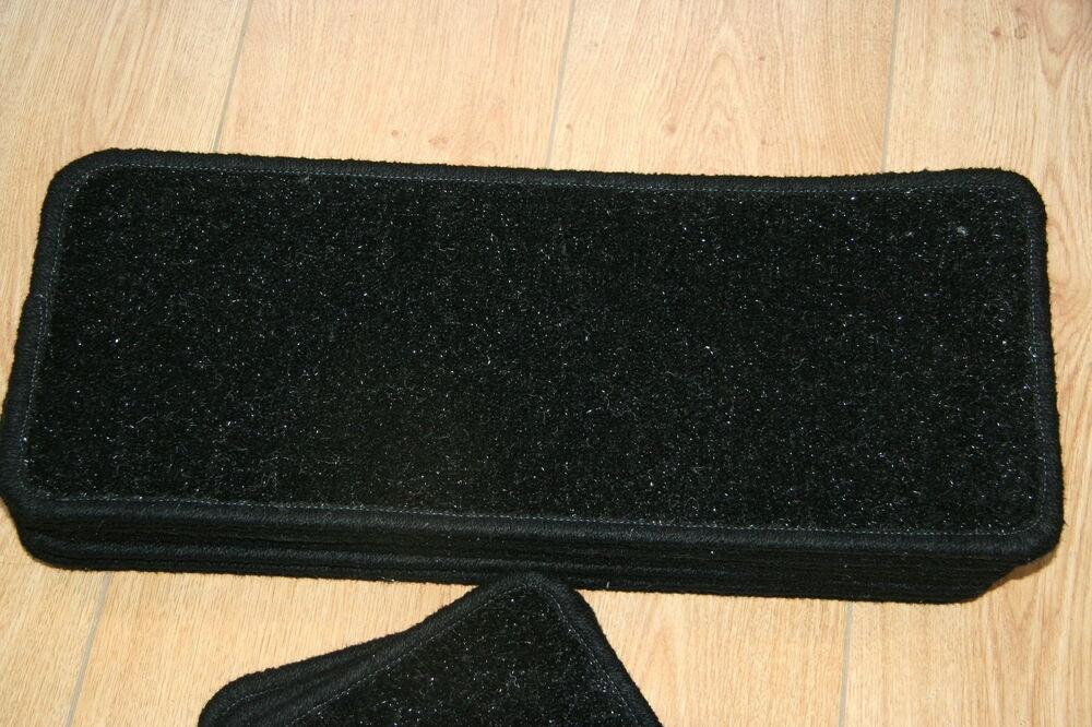 14 Glitter Open Plan Carpet Stair Treads Black Sparkle   Glitter Stairs With Carpet
