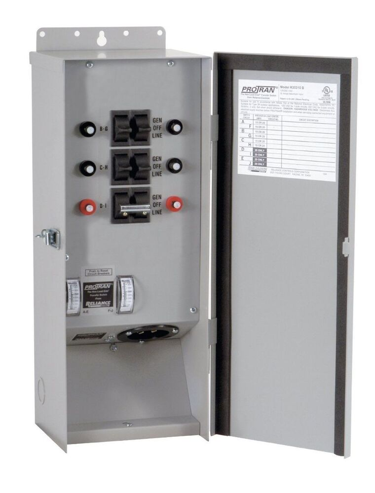 Pro Tran Transfer Switch For Generator With 6 Circuit Breaker