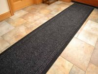 Black Heavy Duty Non-Slip Rubber Backed Hall Runners Extra ...