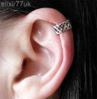 SILVER CRISS CROSS EAR CUFF UPPER HELIX CARTILAGE CLIP-ON ...