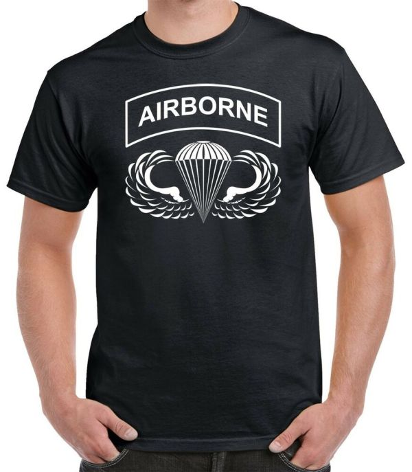 Airborne Hardcore T Shirt - Paratrooper Jump Wings 82nd