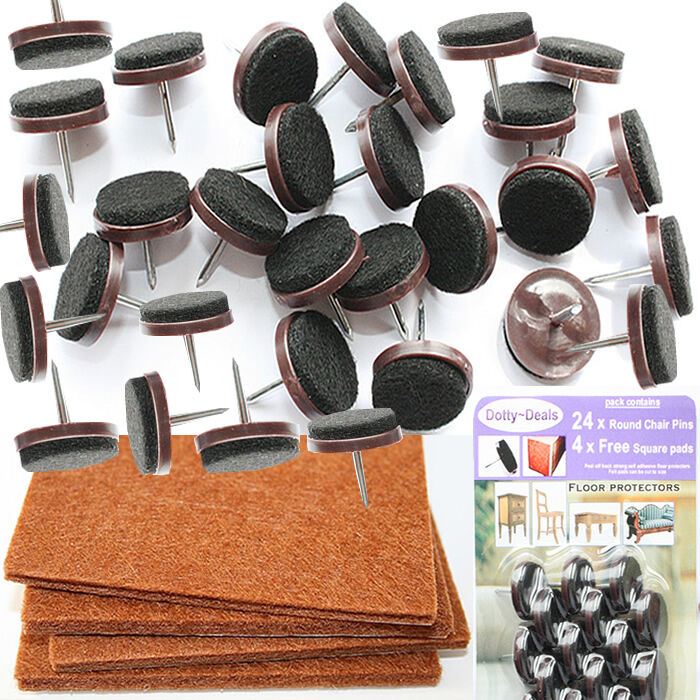 hardwood floor chair protectors slipcovers t cushion 24 nail in protective felt pads wood protector free 4 square stick on   ebay