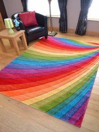 Modern Thick Dense Pile Bright Coloured Rainbow Floor Mat ...