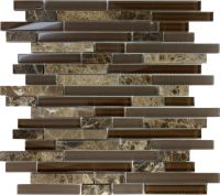 SAMPLE- Brown Glass Natural Stone Linear Mosaic Tile Wall ...