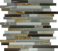 SAMPLE- Gray Brown Glass Natural Stone Linear Glass Mosaic ...
