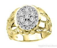 Mens Diamond 14K Yellow Gold Nugget Ring