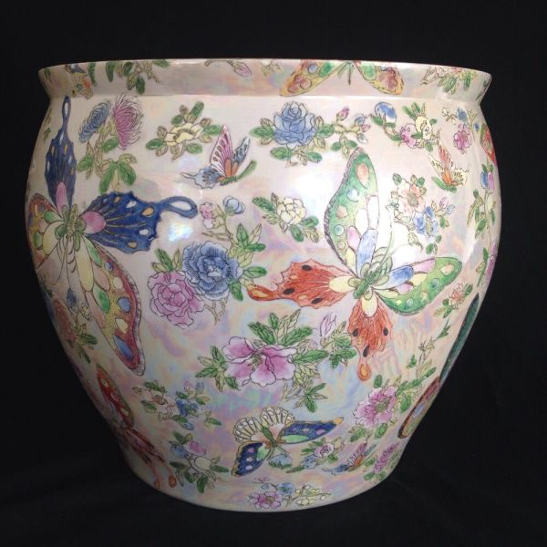 Chinese Fish Bowl Planter Butterflies Flowers 8th 9th
