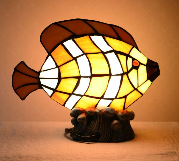 Stained Glass Tiffany Style Fish Night Light Table Desk