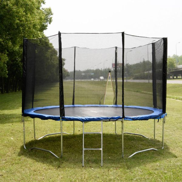 12 Ft Trampoline Combo Bounce Jump Safety Enclosure Net Withspring Pad & Ladder