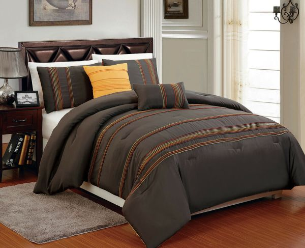 High Quality Microfiber Brown & Orange Queen Comforter King Full 5pcs Set