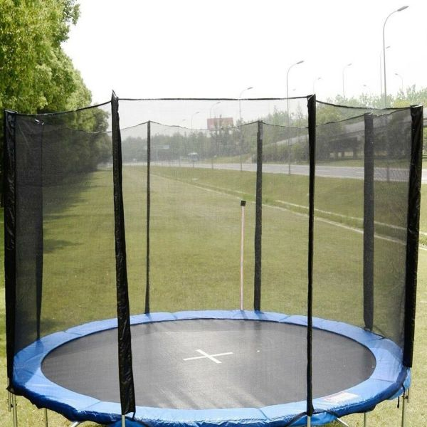 12ft Trampoline Enclosure Safety Net Fence Replacement Withsleeves 8 Poles