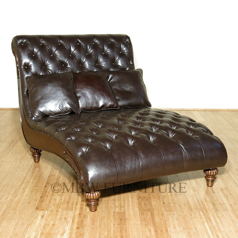 Latte Tufted Bycast Leather Double Chaise Lounge