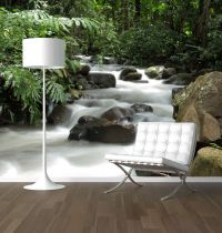Waterfall in the forest photo wallpaper mural feature wall ...