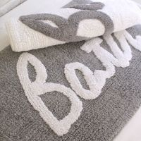 24x16 Gray / White rug shower mat bath rug cotton bath mat ...