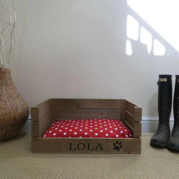 Wooden Personalised Dog Cat Bed Apple Crate Handmade