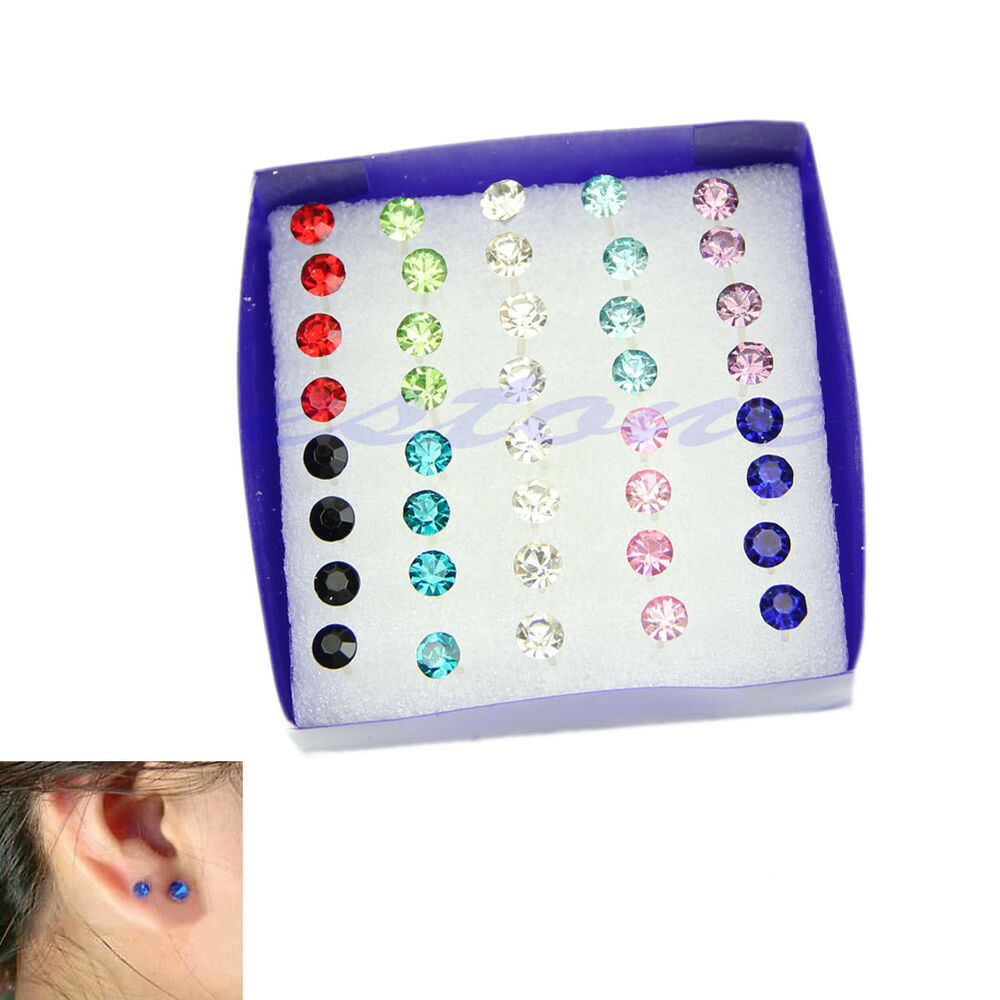 ... 5MM Clear Multicolor Crystal Allergy Free Ear Studs Earrings | eBay