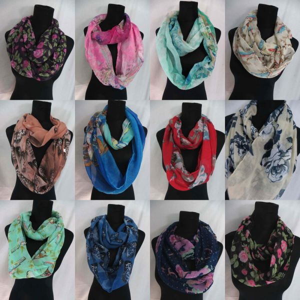 Seller-12pc Infinity Scarf Loop Scarves Women Endless Shawl