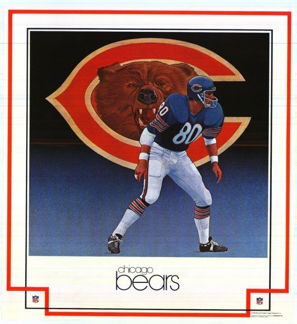 Sports Poster Chicago Bears 1979 Nfl Damac Vintage 23x25
