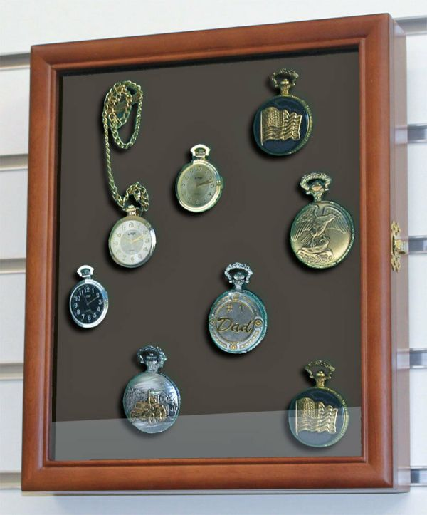 Display Case Shadow Box Cabinet Pocket Watches Wall
