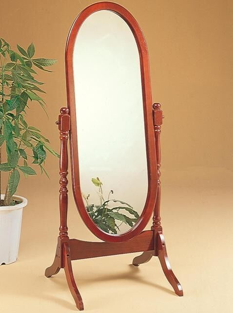 Swivel Full Length Wood Cheval Floor Mirror Cherry Finish New  eBay