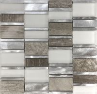 Sample Gray Metal Glass Natural Stone Blend Mosaic Tile