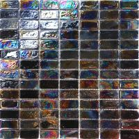 Sample Rectangle Black Iridescent Glass Mosaic Tile ...