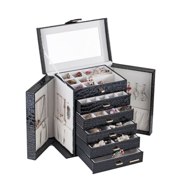 Black Large Jewelry Box Armoire Cabinet Necklace Organizer