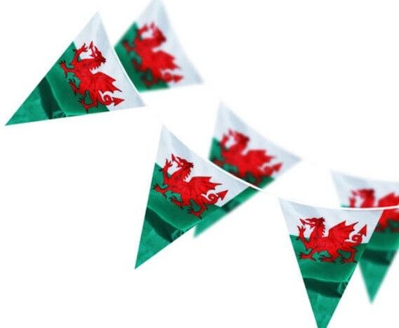 33FT OF WALES WELSH CYMRU DRAGON TRIANGLE FLAGS BUNTING ST
