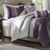 Purple Grey Bed Bag Luxury 7-Pc Comforter Set Cal King ...