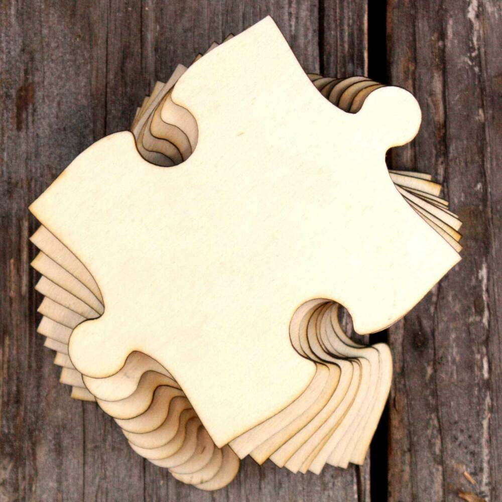 10x Wooden Jigsaw Craft Shapes Centre Piece 3mm Plywood build your own puzzle  eBay