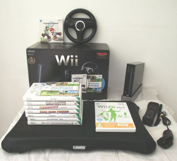 Wii Console Mario Kart Edition Black Fit Board Games Free Years Warranty