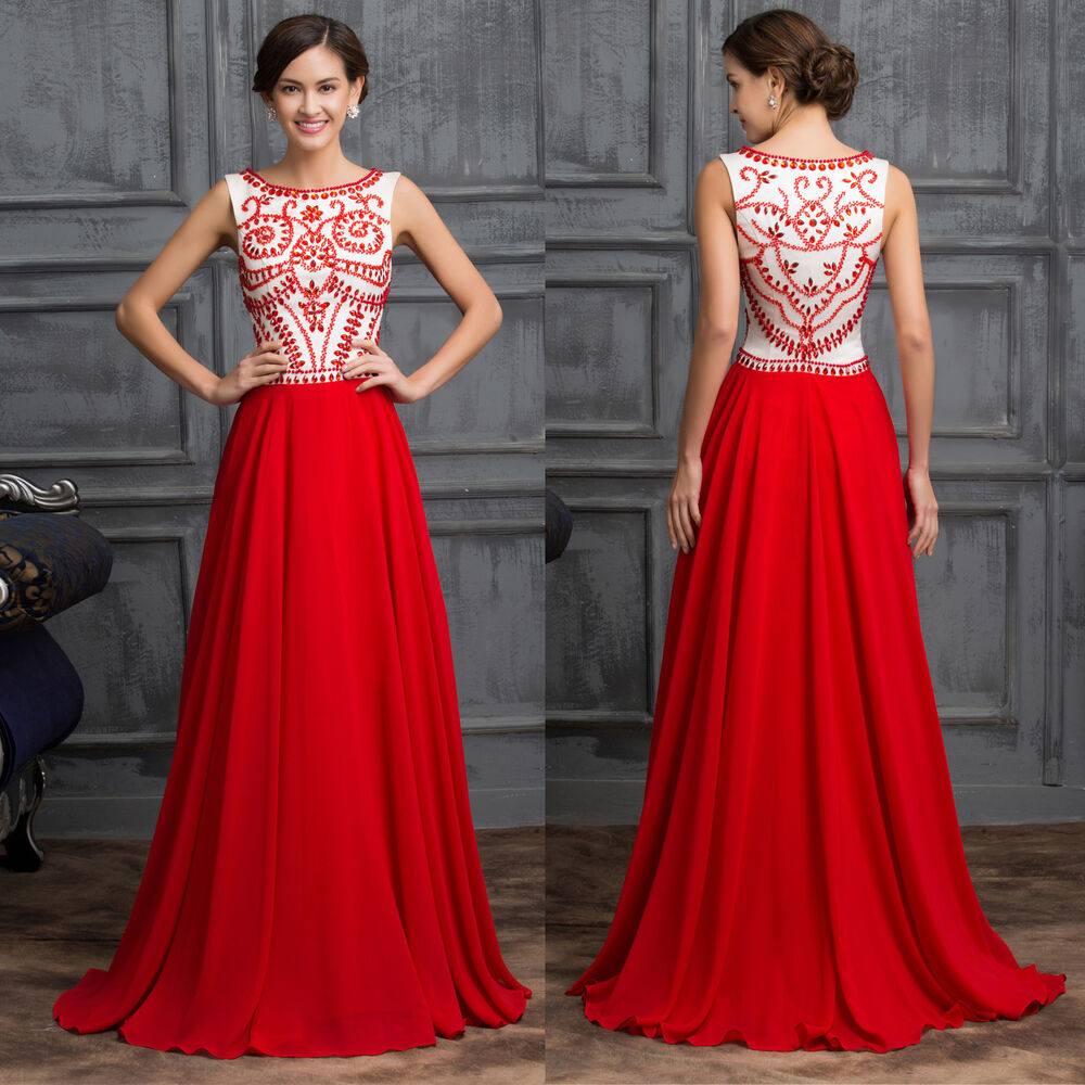 Luxury RED bridesmaid Wedding Guest Long Evening Dresses Formal Party Prom gowns  eBay