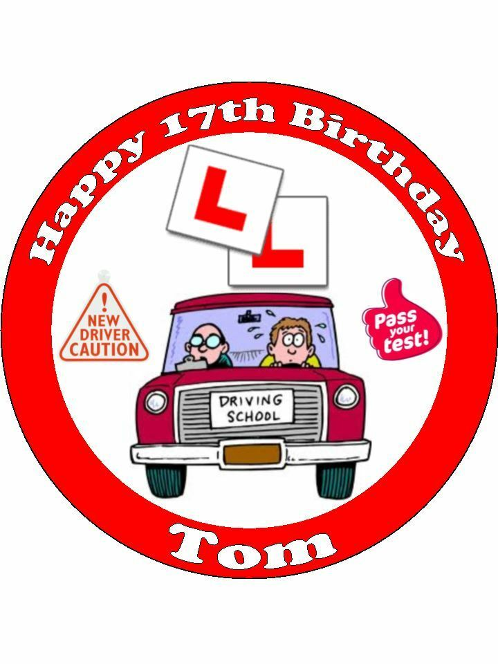 Personalised Learner Driver 17th Birthday L Plates Edible